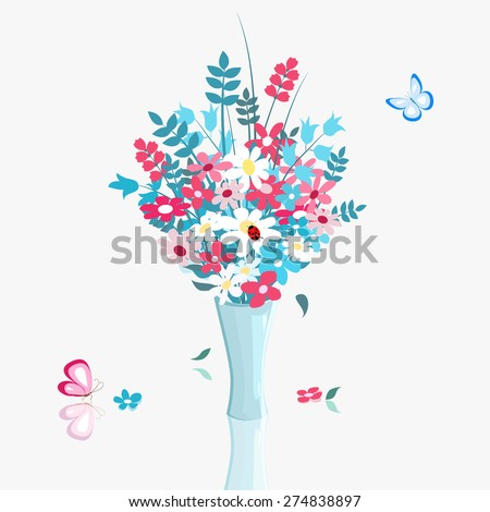 many colorful wild flowers in blue vase and butterfly on light background, vector illustration - stock vector