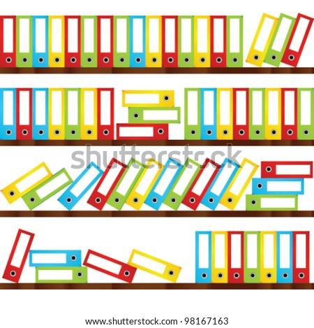 many coloured folders, vector - stock vector