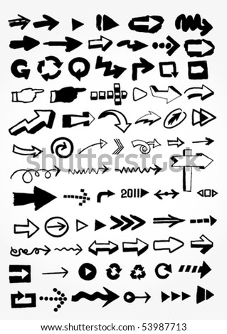many doodled arrows - stock vector