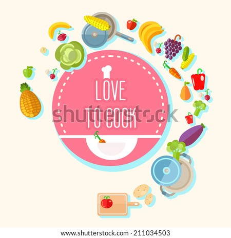 Many food objects flying around circle with text message. Vector illustration - stock vector