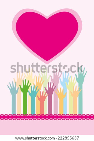Many hands and big heart. Vector - stock vector