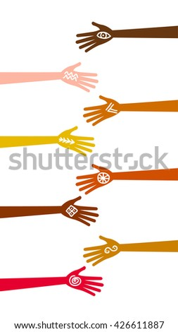 Many hands different races, colours, nationalities and color raised with ancient signs and symbols. Isolated silhouette palms vector anthropology concept. African, american, european, asian, Indian - stock vector