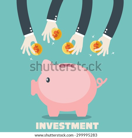 Many hands putting coin into a piggy bank. Saving and investing money concept. Flat style. - stock vector