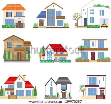 Many houses - stock vector