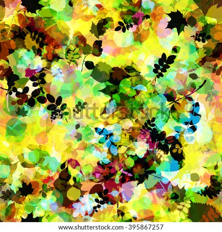 Many leaves. The leaves of birch, oak leaves, aspen leaves, chestnut leaves, trees and shrubs leaves. Abstract vector seamless pattern. Easy editable. Grunge template. Effect of blur and watercolors.  - stock vector