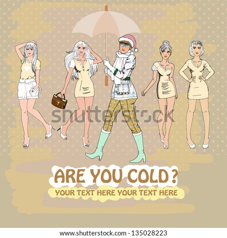 many nice fashion girls,vector - stock vector