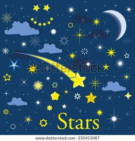 many of the stars and the moon in the night sky - stock vector