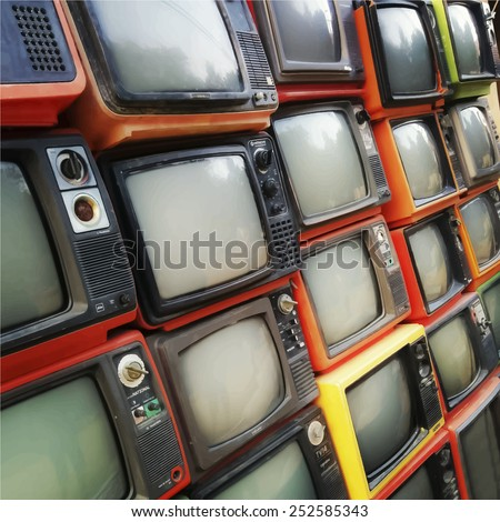 Many old televisions put on each other. Vector background - stock vector