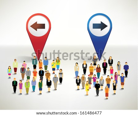 Many people and arrows infographics vector design - stock vector