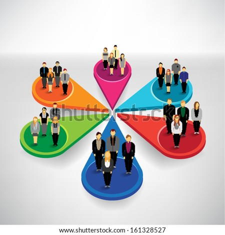 Many people from different sector conceptual vector design - stock vector