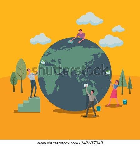 Many people helped clean up the world and green concepts. - stock vector