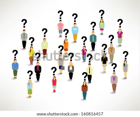 Many people with question mark conceptual vector design - stock vector