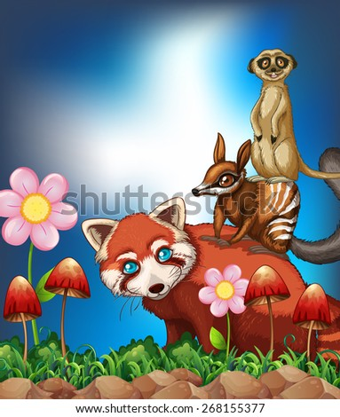 Many rare animals with beautiful flower - stock vector