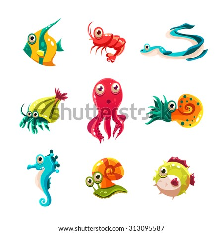 Many species of fish and marine animal life Victor illustration - stock vector