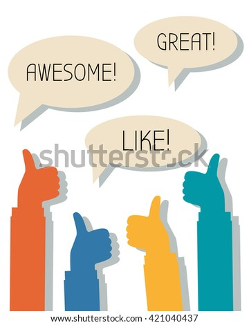 Many thumbs up and words Awesome, Great, Like in thought bubbles, feedback, social network concept - stock vector