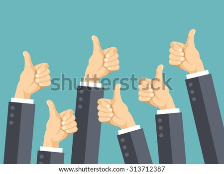 Many thumbs up. Social network likes, approval, customers feedback concept. Modern flat design concepts for web banners, web sites, printed materials, infographics. Creative vector illustration - stock vector
