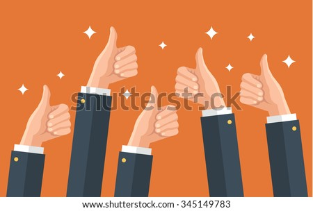 Many thumbs up. Social network likes, approval, feedback concept. Vector flat illustration - stock vector
