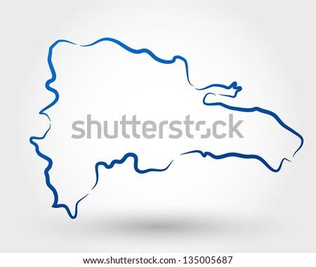 mao of dominican republic. map concept - stock vector