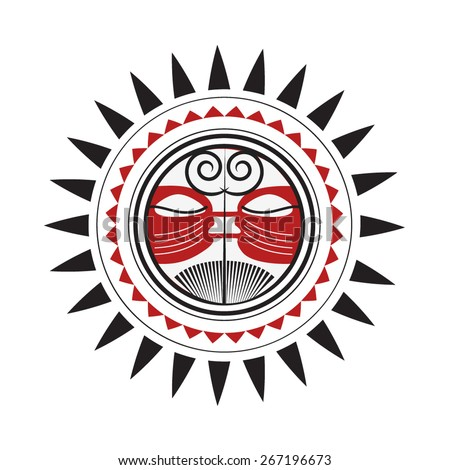 Maori Sun God - Polynesian Traditional Pattern Drawing Red and Black Sketch - stock vector