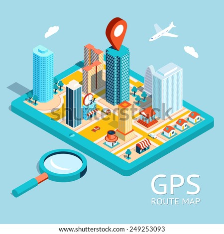 Map a small town on the tablet with the specified destination point. GPS route map. City navigation app. Vector illustration - stock vector