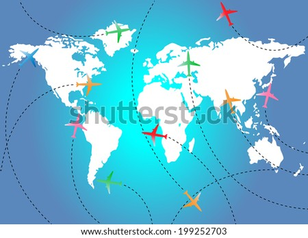 Map and airplanes - stock vector