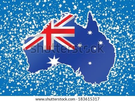 Map and flag of Australia idea design - stock vector