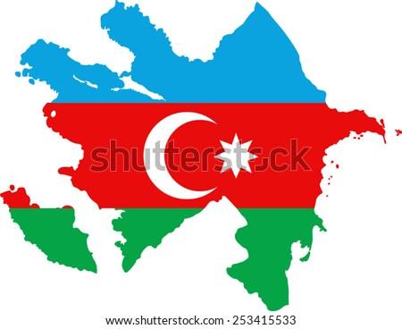 Map and flag of Azerbaijan - stock vector