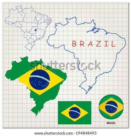 Map and flag of Brazil - stock vector