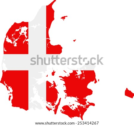 Map and flag of Denmark - stock vector