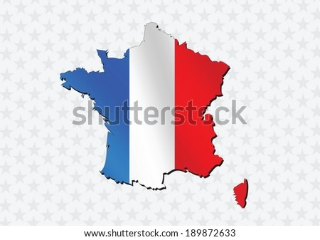 Map and  flag of France , French Republic  - stock vector