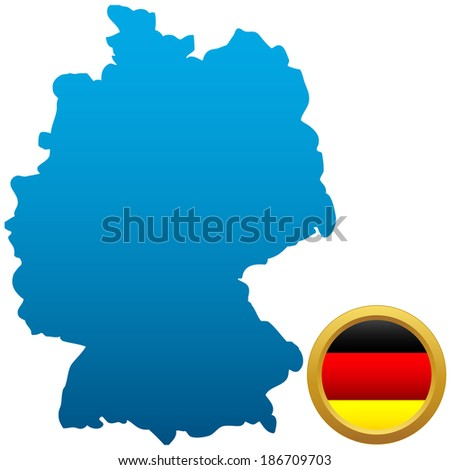Map and flag of Germany on a white background - stock vector