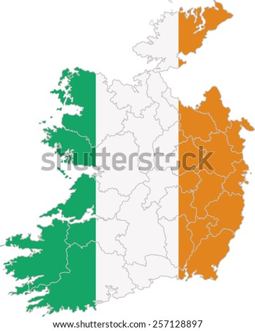 Map and flag of Ireland - stock vector
