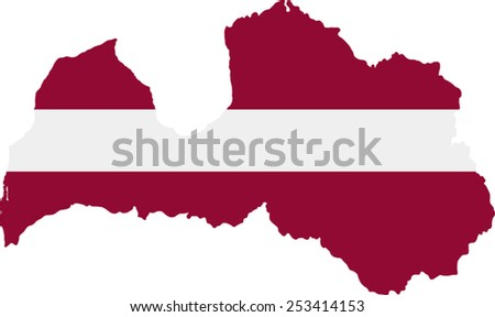 Map and flag of Latvia  - stock vector