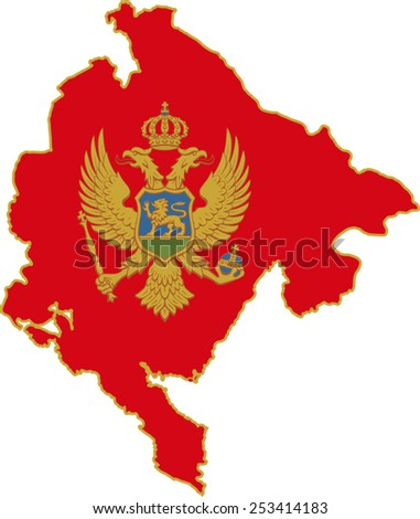 Map and flag of Montenegro  - stock vector