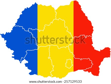 Map and flag of Romania - stock vector