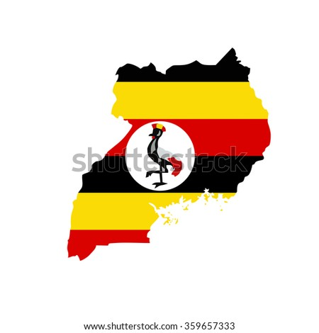 Map and flag of Uganda - stock vector