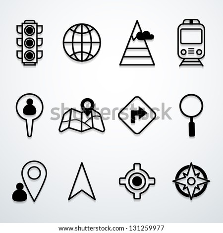 Map and location icons - stock vector