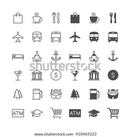 Map and location icons, included normal and enable state. - stock vector