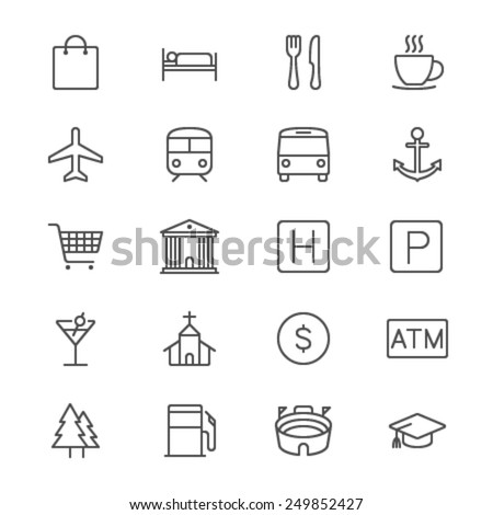 Map and location thin icons - stock vector