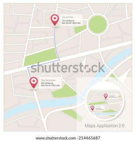 Map app - stock vector