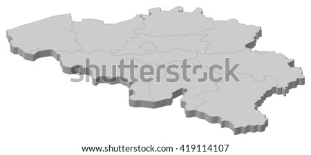Map - Belgium - 3D-Illustration - stock vector