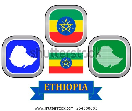 map button flag and symbol of Ethiopia on a white background  - stock vector