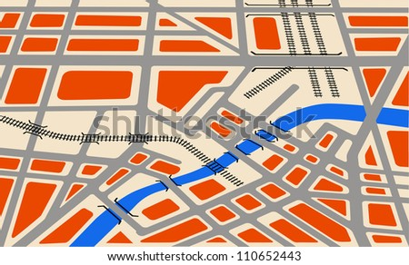 Map city - stock vector