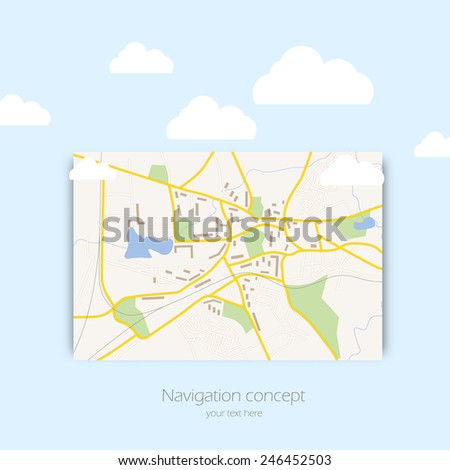 Map concept design illustration with clouds on blue sky background - stock vector