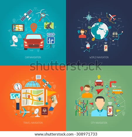 Map design concept set with city and world navigation flat icons isolated vector illustration - stock vector