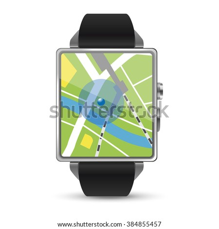 Map display of the Smart watch illustration on white background - stock vector