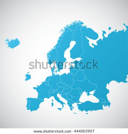 map Europe with and without Great Britain - stock vector