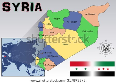 Map, Flag and Location of Syria - stock vector