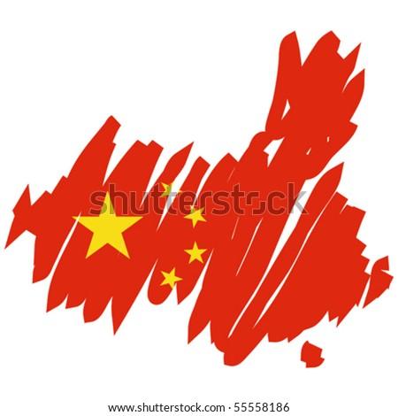 map flag China - stock vector
