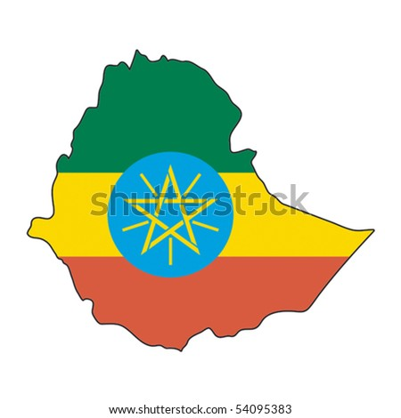 map flag Ethiopia - stock vector